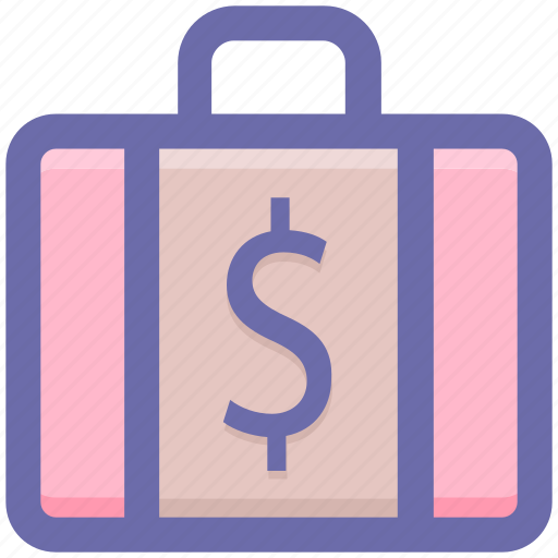 bag, briefcase, dollar, dollar bag, office bag, suit case icon