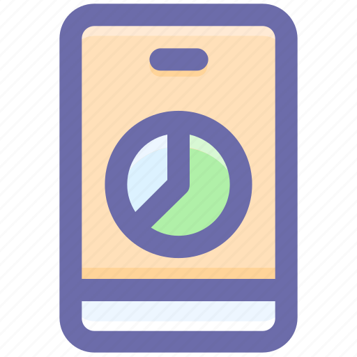 mobile chart, mobile phone, mobile pie chart, pie, pie chat, smartphone icon