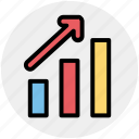 arrow, bar, business, chart, earning, graph, pie icon