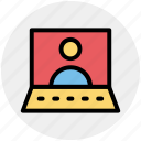 business man, computer, conference, device, laptop, laptop computer icon