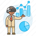 analysis, augmented, business, chart, graph, headset, man, presentation, virtual, vr icon