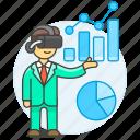 2, analysis, augmented, business, chart, graph, headset, man, presentation, virtual, vr icon