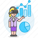 analysis, augmented, business, chart, graph, headset, presentation, virtual, vr, woman icon