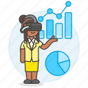 2, analysis, augmented, business, chart, graph, headset, presentation, virtual, vr, woman icon