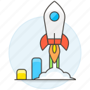 bar, business, chart, graph, growth, launch, rocket, spaceship, startup, statistic, success icon