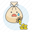 anomaly, bag, business, cash, coin, escape, expenses, leak, leakage, leaked, loss, money, waste icon