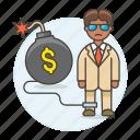 bankrupt, bomb, business, cash, chain, crisis, debt, deficit, expenses, financial, man, sad icon