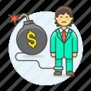 cash, bomb, expenses, crisis, chain, business, deficit, financial, bankrupt, debt, man, sad icon
