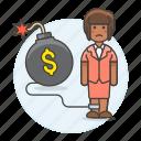 bankrupt, bomb, business, cash, chain, crisis, debt, deficit, expenses, financial, sad, woman icon