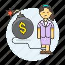 cash, bomb, woman, expenses, crisis, chain, business, deficit, financial, bankrupt, debt, sad icon