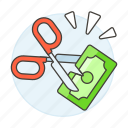 banknote, business, cash, cutting, depreciation, expense, expenses, fall, money, price, sale, scissors icon