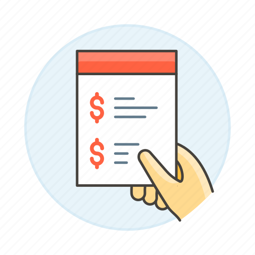 budget, business, dollar, hand, hold, invoice, invoicing, list, money, quotation, shop, summary icon