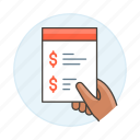 dollar, list, invoicing, invoice, hold, budget, business, quotation, shop, money, hand, summary icon