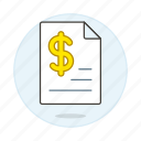 business, contract, document, dollar, file, invoice, invoicing, money, paper, receipt icon