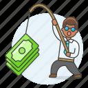 business, crime, fishing, growth, incentive, man, money, phishing, profit, success icon