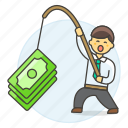 1, business, crime, fishing, growth, incentive, man, money, phishing, profit, success icon