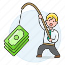 2, business, crime, fishing, growth, incentive, man, money, phishing, profit, success icon