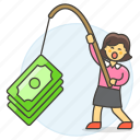 business, crime, fishing, growth, incentive, money, phishing, profit, success, woman icon
