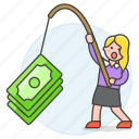 2, business, crime, fishing, growth, incentive, money, phishing, profit, success, woman icon