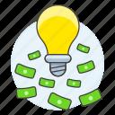 brilliant, business, cash, genius, growth, idea, lightbulb, millionaire, money, profit, success icon