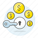 business, growth, key, lock, money, open, profit, success, treasury, unlock icon