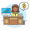 accountant, accounting, adviser, books, business, expense, financial, graph, income, invoicing, money, woman icon