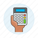 accounting, business, calc, calculator, expenses, finance, hand, income, invoicing icon