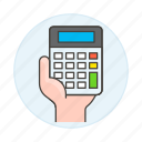 1, accounting, business, calc, calculator, expenses, finance, hand, income, invoicing icon