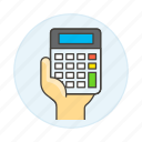 2, accounting, business, calc, calculator, expenses, finance, hand, income, invoicing icon