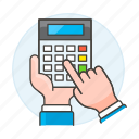 accounting, business, calc, calculator, expenses, finance, hand, income, invoicing, using icon