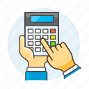 1, accounting, business, calc, calculator, expenses, finance, hand, income, invoicing, using icon
