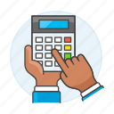 2, accounting, business, calc, calculator, expenses, finance, hand, income, invoicing, using icon