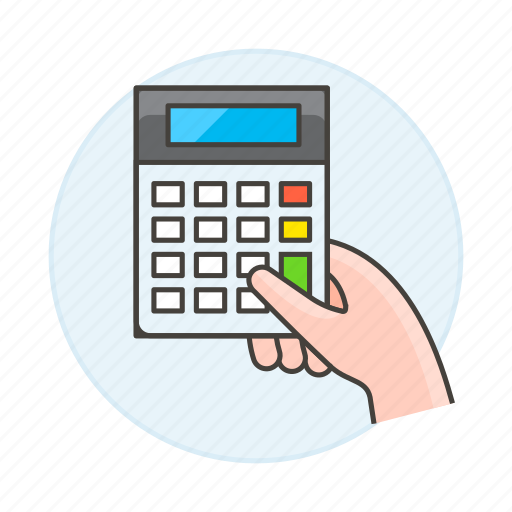 accounting, business, calculator, expense, finance, hand, hold, income, invoicing, math icon