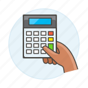 1, accounting, business, calculator, expense, finance, hand, hold, income, invoicing, math icon