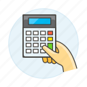 2, accounting, business, calculator, expense, finance, hand, hold, income, invoicing, math icon