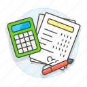 accounting, business, calculating, expenses, finance, income, invoice, invoicing, making, report icon