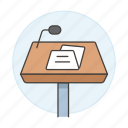 business, conference, microphone, podium, presentation, rostrum, speech, stand, two icon