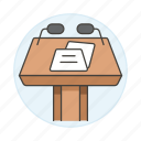 podium, business, presentation, microphone, stand, conference, two, rostrum, speech icon