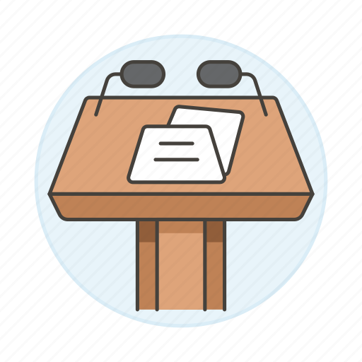 1, business, conference, microphone, podium, presentation, rostrum, speech, stand, two icon