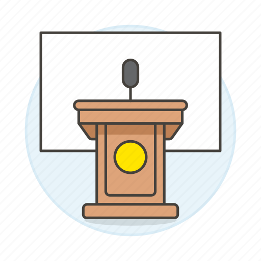 business, conference, microphone, podium, presentation, rostrum, speech, stand icon