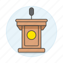 1, business, conference, microphone, podium, presentation, rostrum, speech, stand icon