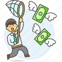 business, cash, catching, currency, funding, man, money, net, profit, startup, success icon