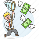 startup, profit, cash, catching, success, net, money, currency, man, funding, business icon