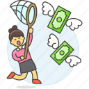 business, cash, catching, currency, funding, money, net, profit, startup, success, woman icon