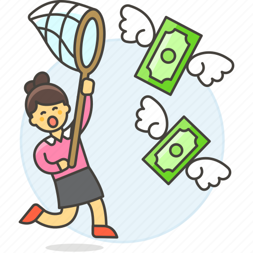 1, business, cash, catching, currency, funding, money, net, profit, startup, success, woman icon