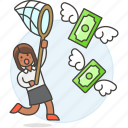 startup, profit, cash, catching, success, net, money, currency, woman, funding, business icon