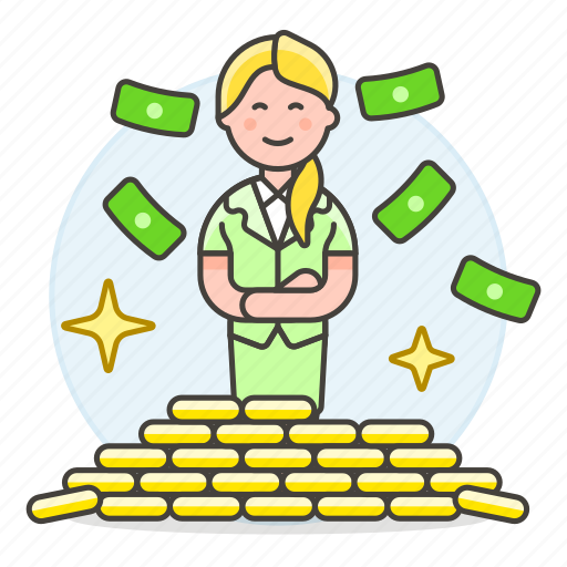 business, fortune, freedom, gold, growth, money, person, pile, profit, rich, success, wealth, wealthy, woman icon