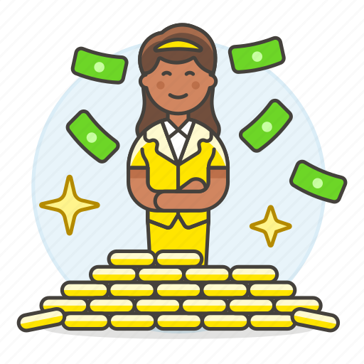 2, business, fortune, freedom, gold, growth, money, person, pile, profit, rich, success, wealth, wealthy, woman icon