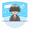 augmented, business, environment, man, presentation, reality, virtual, vr icon