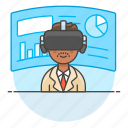 2, augmented, business, environment, man, presentation, reality, virtual, vr icon